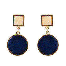 Art Deco Design Earrings Dark Blue