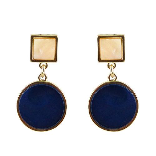 Art Deco Design Earrings Dark Blue