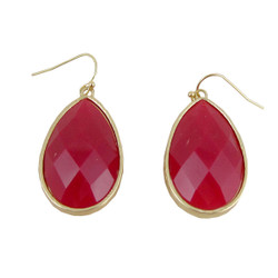 Dangle Earrings Double Sided Red-Violet and Orange