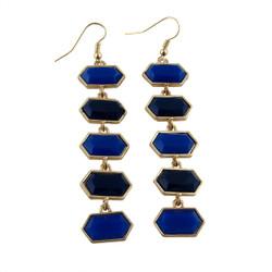 Hexagon Earrings Two Tone Blue