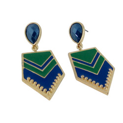 Chevron Earrings Green and Blue