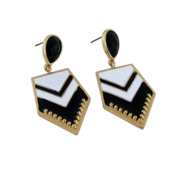 Chevron Earrings Black and White