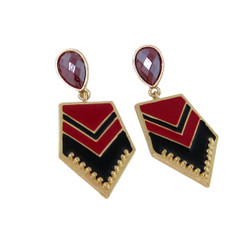 Chevron Earrings Red and Black