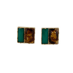 Square Deal Earrings Tortoise and Green