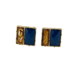 Square Deal Earrings Tortoise and Blue
