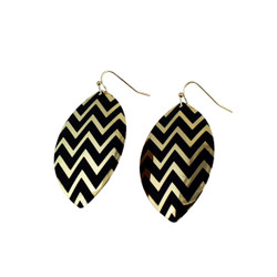 Zigzag Dangling Shield Earrings Black and Gold