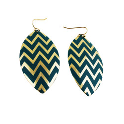 Zigzag Dangling Shield Earrings Turquoise