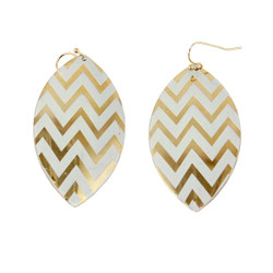 Zigzag Dangling Shield Earrings Gold and White