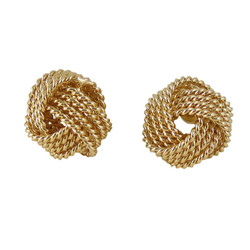 Gold Toned Coiled Ball Studs Earrings