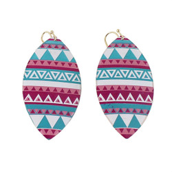 Southwestern Inspired Shield Earrings Pink, Turquoise, and White