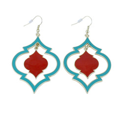 Exotic Oval Dangling Earrings Turquoise and Coral