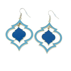 Exotic Oval Dangling Earrings Turquoise and Blue