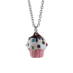 Cupcake Long Chain Necklace Small Pink Bejeweled