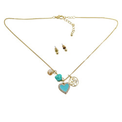 Heart Charm Necklace Earring Set Baby Blue Jeweled