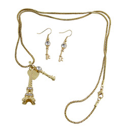 Eiffel Tower Necklace Earrings Set Gold Tone