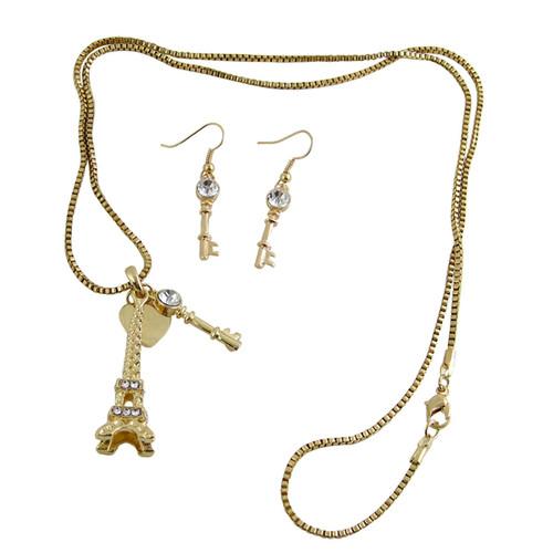 Eiffel Tower Necklace Earrings Set Gold Tone