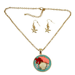 Seashells Necklace Earrings Set Gold Tone Sea Foam Green