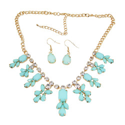 Chandelier Necklace Earrings Set Sea Foam Green