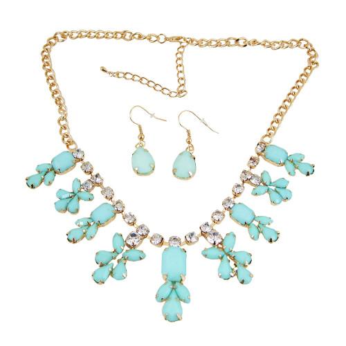 Chandelier Necklace Earrings Set Sea Foam Green
