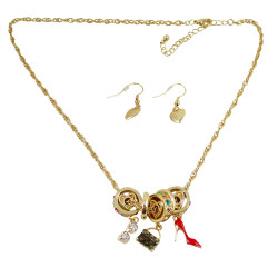 Charm Necklace Earrings Accessories Theme Gold Tone