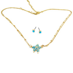 Starfish Double Chain Necklace Earrings Set Turquoise