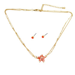 Starfish Double Chain Necklace Earrings Set Coral