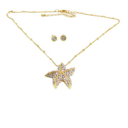 Starfish Necklace Earrings Set Gold Bejeweled