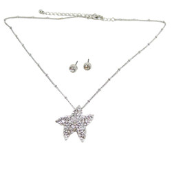 Starfish Necklace Earrings Set Silver Bejeweled