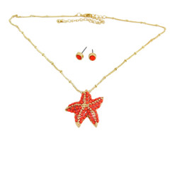 Starfish Necklace Earrings Set Coral Red