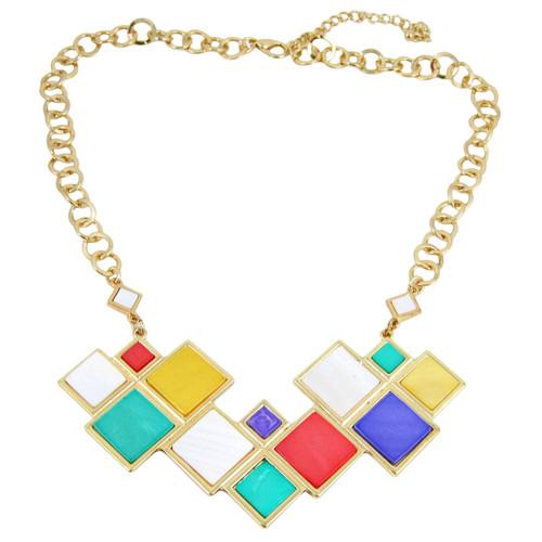 Modern Chess Board Inspired Art Deco Necklace Multi Colored