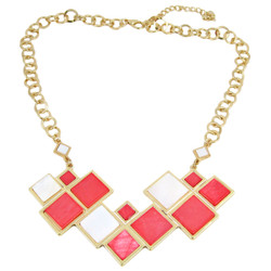 Modern Chess Board Inspired Art Deco Necklace Coral
