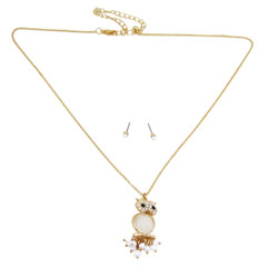 Owl Necklace Earrings Set White