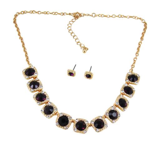 Majestic Jewels Crystal Necklace Earrings Set Purple