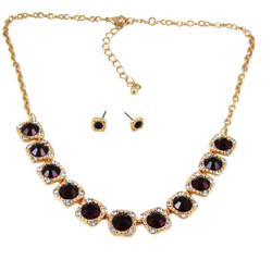 Majestic Jewels Crystal Necklace Earrings Set Ruby Red
