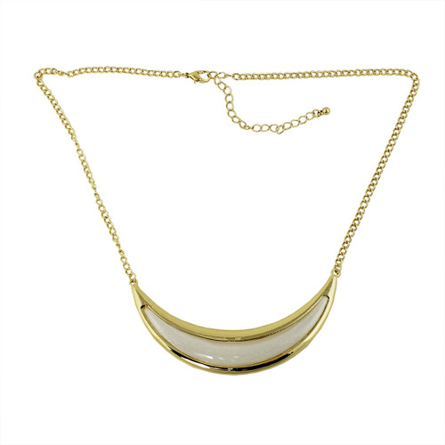 Crescent Moon Necklace Pearl White