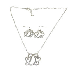 Old Victorian Initial D Necklace and Earrings Set Silver