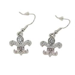 Silver Dangling Crystal Fleur De Lis Earrings