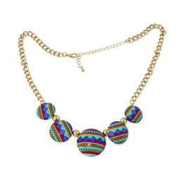 Southwestern Inspired Pattern Necklace Teal and Purple