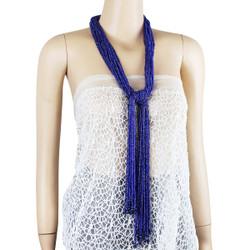 Long Beaded Necklace Royal Opal Blue