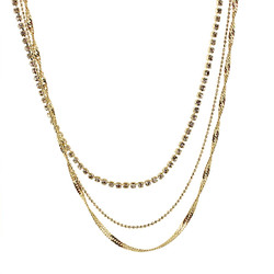 Long Triple Strand of Chains Necklace Gold