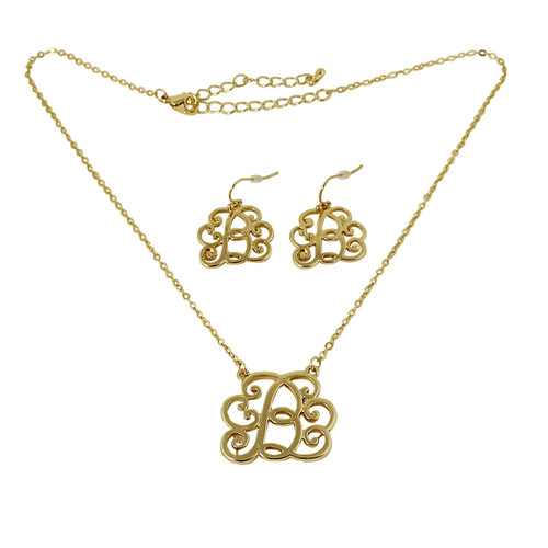 Old Victorian Initial B Necklace and Earrings Set Gold