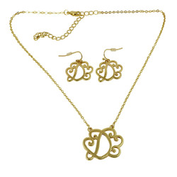 Old Victorian Initial D Necklace and Earrings Set Gold
