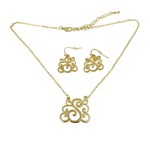 Old Victorian Initial S Necklace and Earrings Set Gold
