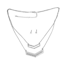 Double Layered Crystal Chevron Necklace and Earrings Silver