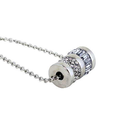 Barrel of Bling Long Chain Necklace and Earrings Silver
