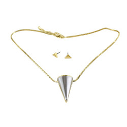 Large Cone Necklace and Earrings Set Gold and Silver