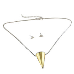 Large Cone Necklace and Earrings Set Silver and Gold
