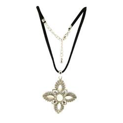 Cross Pendant Long Necklace Silver
