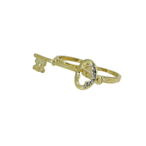 Antique Key Two Finger Ring Gold