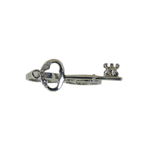 Antique Key Two Finger Ring Silver